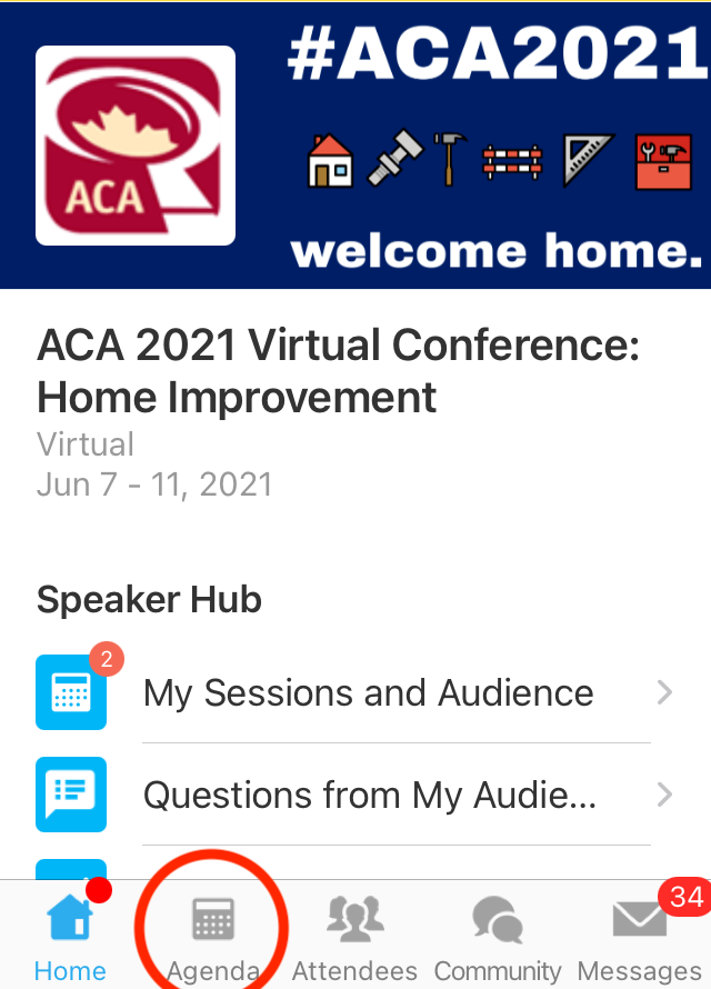 "Screenshot of Whova mobile app home page with ""Agenda"" circled"