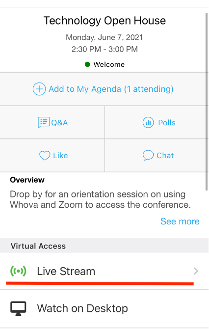 "Screenshot of Whova mobile app session detail with ""Live Stream"" underlined"