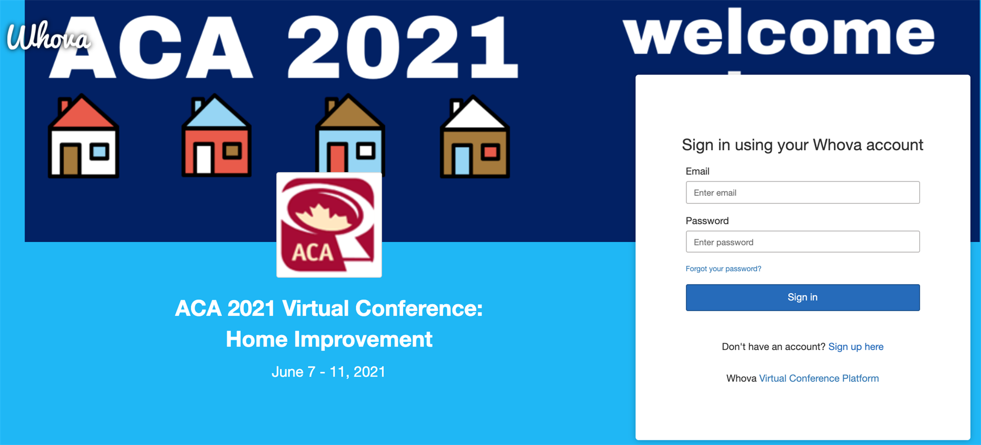 Screenshot of ACA 2021 Whova web app sign-in page