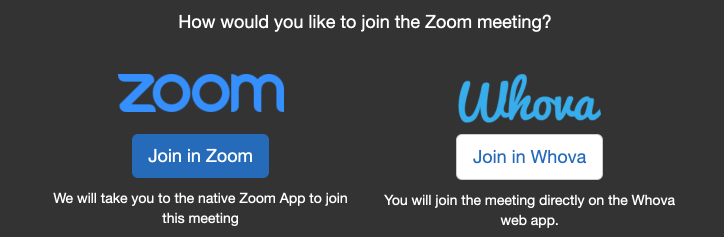 "Screenshot of session join options: ""Join in Zoom"" or ""Join in Whova"""