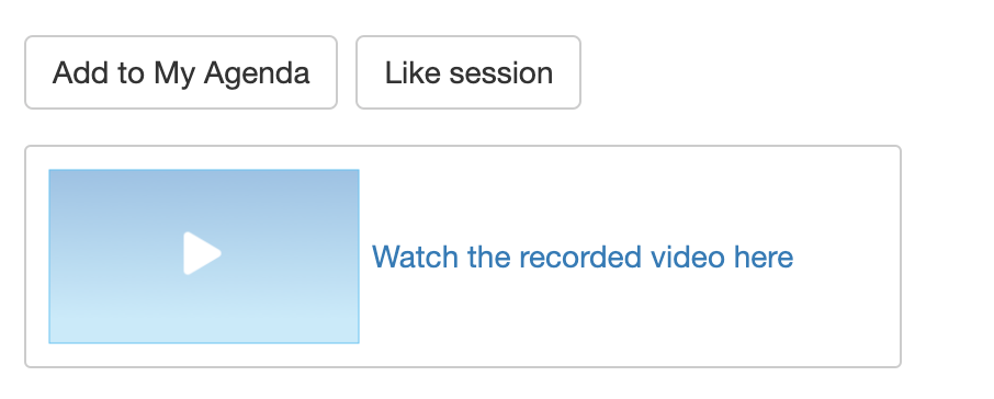 "Screenshot of Whova web app session detail with ""Watch the recorded video link here"" displayed"