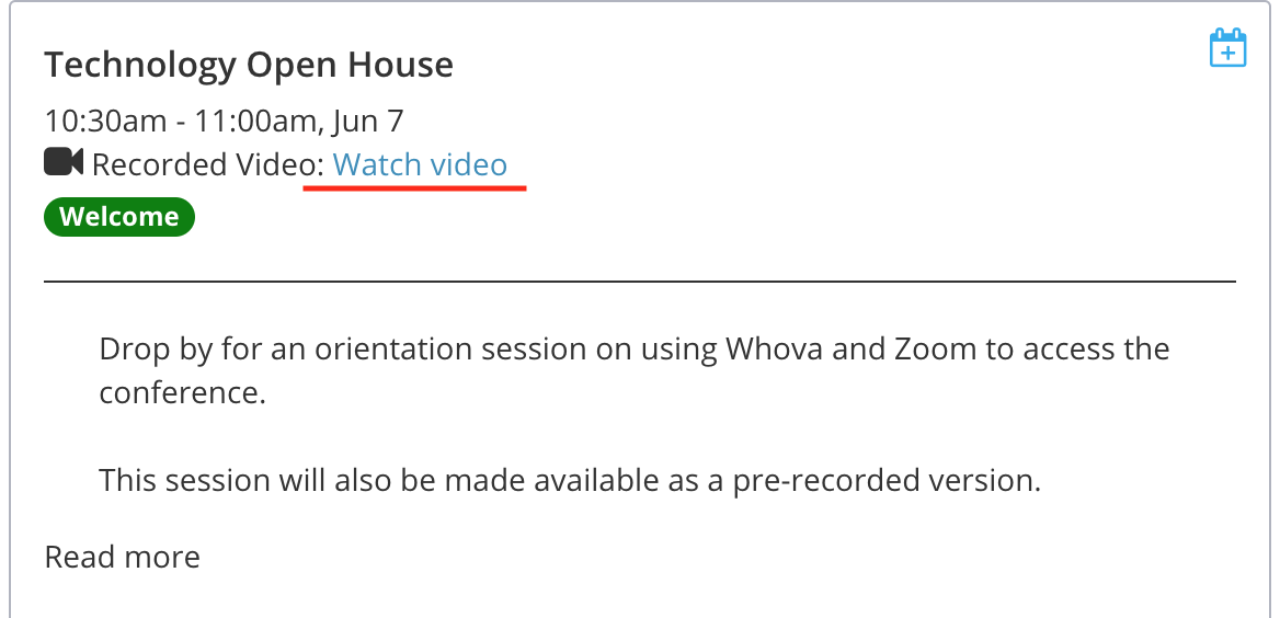 "Screenshot of schedule session detail with ""Watch video"" link underlined"