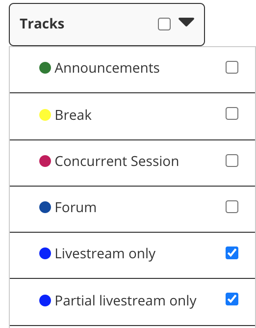 "Screenshot of ""Tracks"" filter menu on Schedule page"